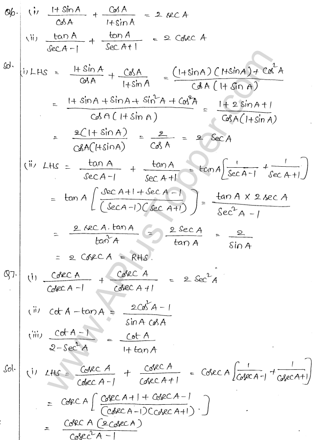 ML Aggarwal ICSE Solutions for Class 10 Maths Chapter 19 Trigonometric Identities Q1.4