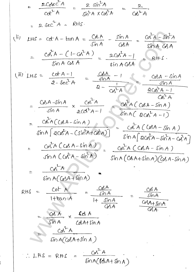 ML Aggarwal ICSE Solutions for Class 10 Maths Chapter 19 Trigonometric Identities Q1.5