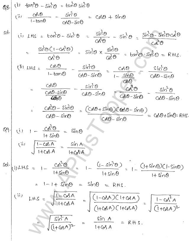 ML Aggarwal ICSE Solutions for Class 10 Maths Chapter 19 Trigonometric Identities Q1.6