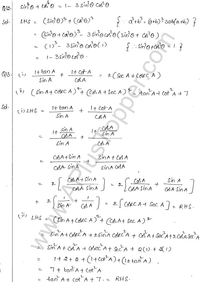 ML Aggarwal ICSE Solutions for Class 10 Maths Chapter 19 Trigonometric Identities Q1.8