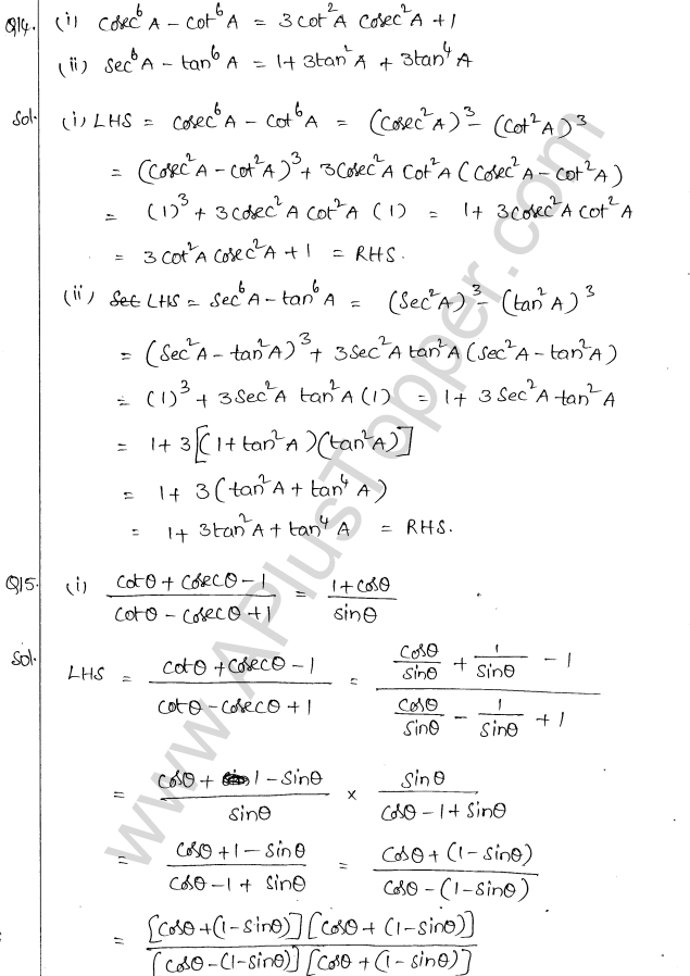 ML Aggarwal ICSE Solutions for Class 10 Maths Chapter 19 Trigonometric Identities Q1.9
