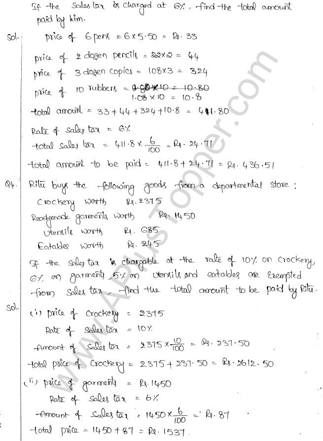 ML Aggarwal ICSE Solutions for Class 10 Maths Chapter 2 Sales Tax And Value Added Tax Q1.2