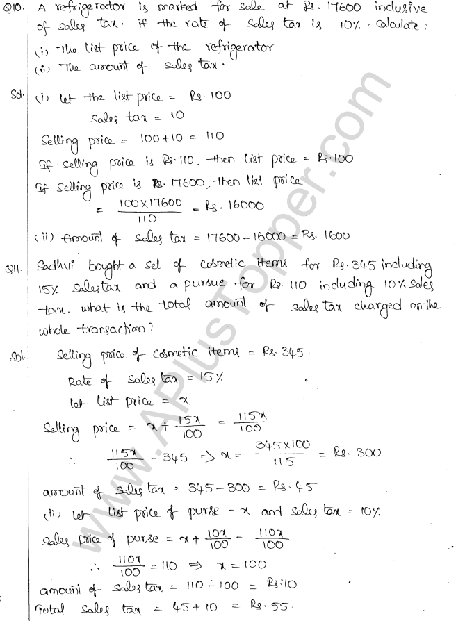 ML Aggarwal ICSE Solutions for Class 10 Maths Chapter 2 Sales Tax And Value Added Tax Q1.5