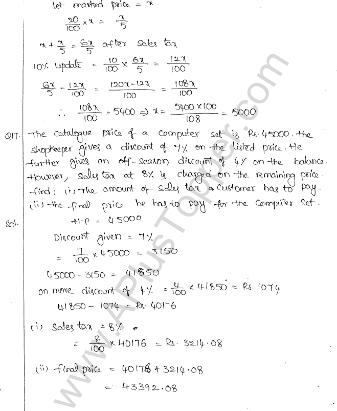 ML Aggarwal ICSE Solutions for Class 10 Maths Chapter 2 Sales Tax And Value Added Tax Q1.8
