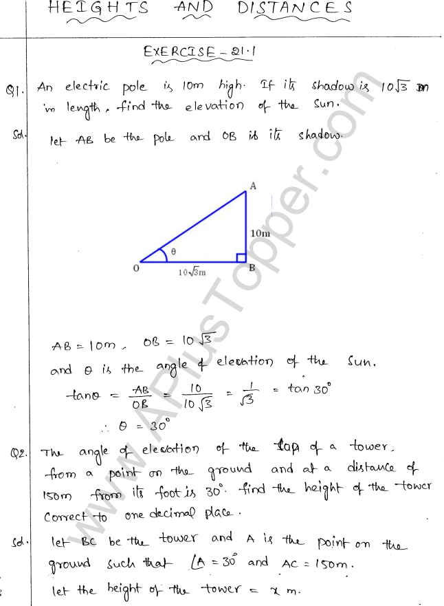 ML Aggarwal ICSE Solutions for Class 10 Maths Chapter 21 Heights and Distances Q1.1
