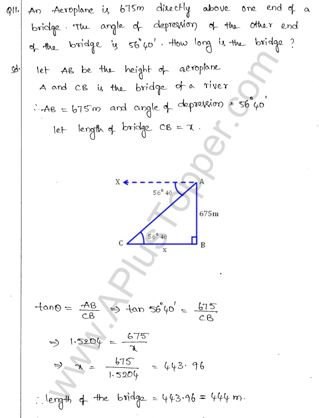 ML Aggarwal ICSE Solutions for Class 10 Maths Chapter 21 Heights and Distances Q1.10