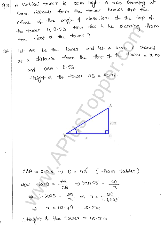 ML Aggarwal ICSE Solutions for Class 10 Maths Chapter 21 Heights and Distances Q1.11