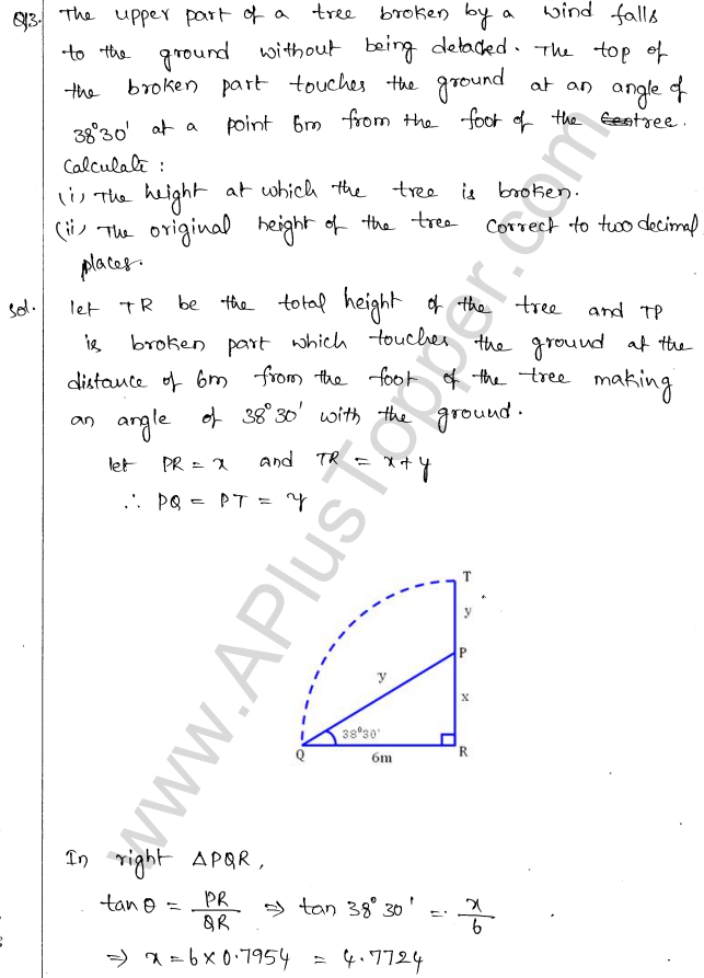 ML Aggarwal ICSE Solutions for Class 10 Maths Chapter 21 Heights and Distances Q1.12