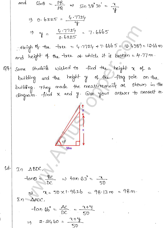 ML Aggarwal ICSE Solutions for Class 10 Maths Chapter 21 Heights and Distances Q1.13