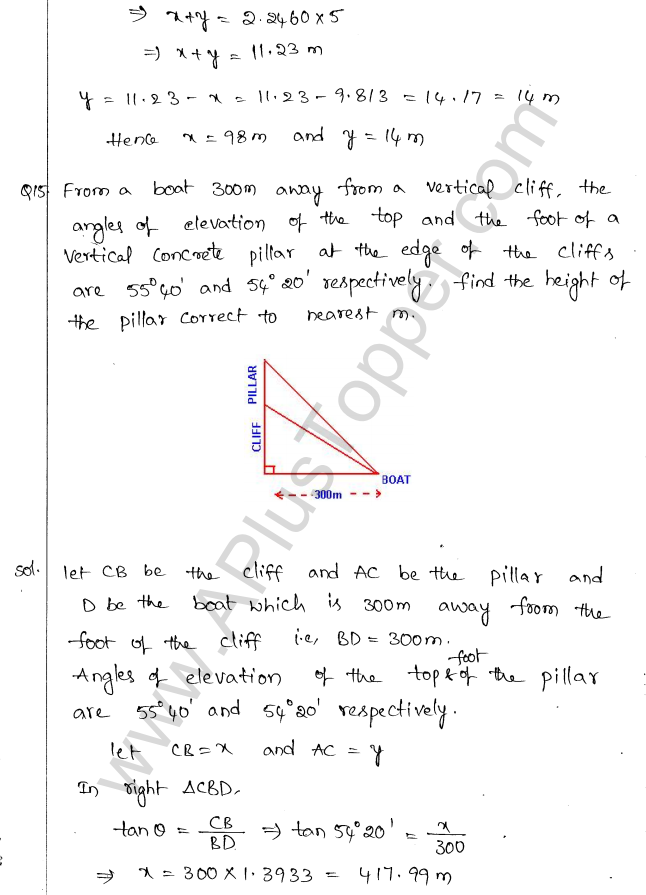 ML Aggarwal ICSE Solutions for Class 10 Maths Chapter 21 Heights and Distances Q1.14