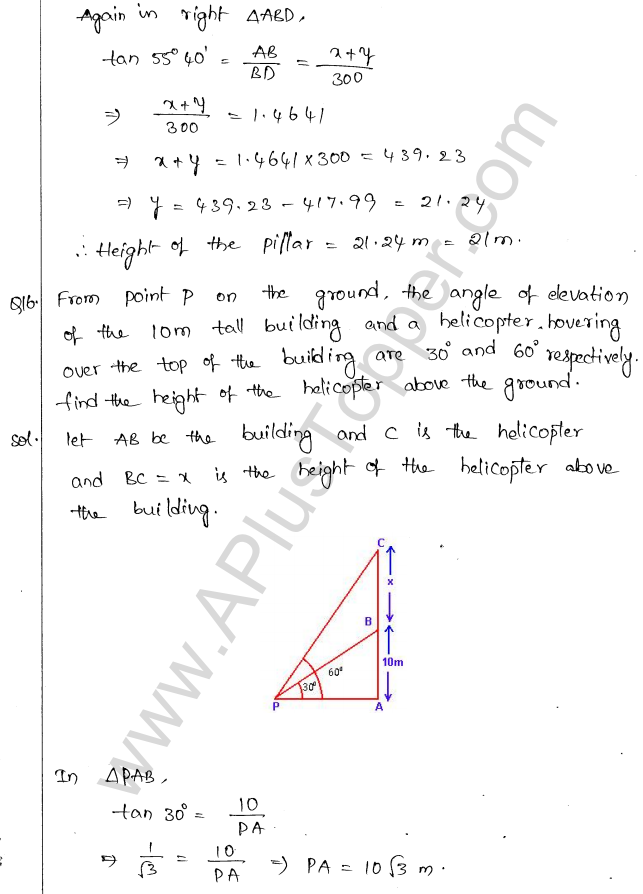 ML Aggarwal ICSE Solutions for Class 10 Maths Chapter 21 Heights and Distances Q1.15