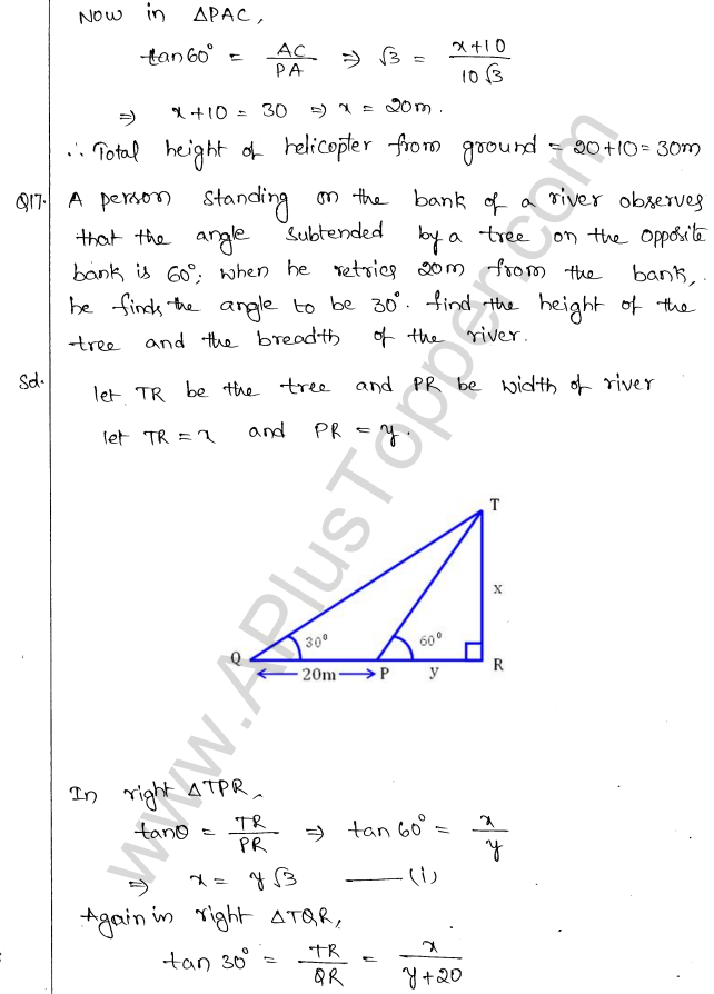 ML Aggarwal ICSE Solutions for Class 10 Maths Chapter 21 Heights and Distances Q1.16