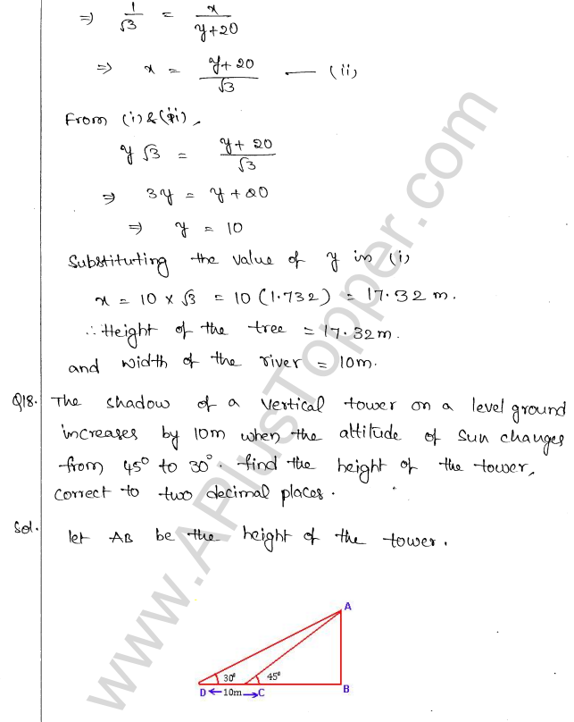 ML Aggarwal ICSE Solutions for Class 10 Maths Chapter 21 Heights and Distances Q1.17