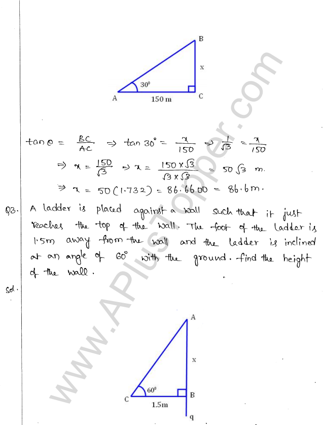ML Aggarwal ICSE Solutions for Class 10 Maths Chapter 21 Heights and Distances Q1.2