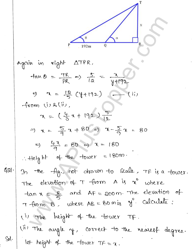 ML Aggarwal ICSE Solutions for Class 10 Maths Chapter 21 Heights and Distances Q1.20