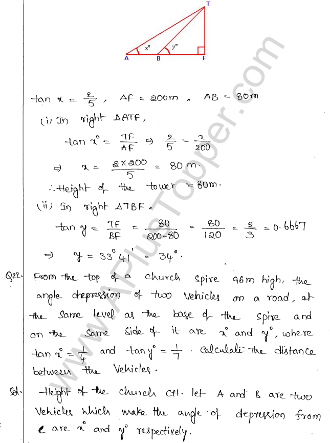 ML Aggarwal ICSE Solutions for Class 10 Maths Chapter 21 Heights and Distances Q1.21