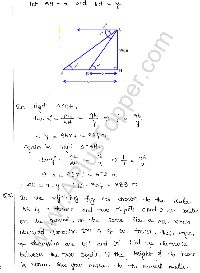 ML Aggarwal ICSE Solutions for Class 10 Maths Chapter 21 Heights and Distances Q1.22