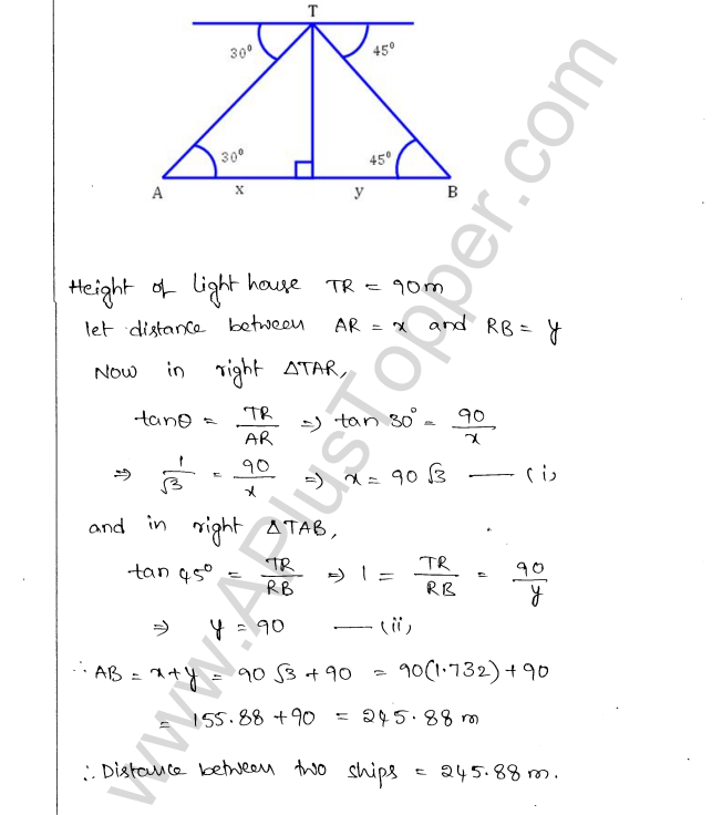 ML Aggarwal ICSE Solutions for Class 10 Maths Chapter 21 Heights and Distances Q1.26