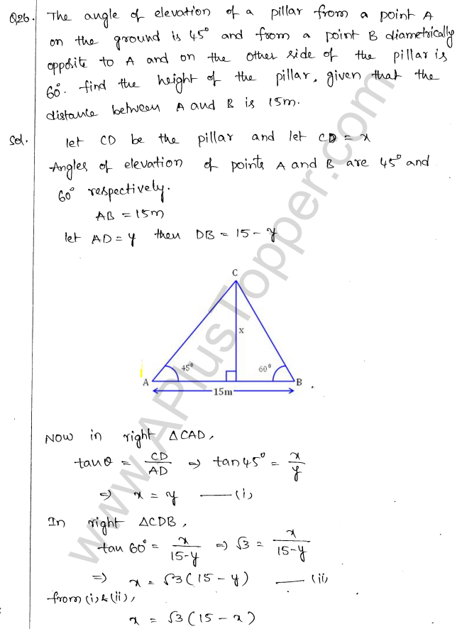 ML Aggarwal ICSE Solutions for Class 10 Maths Chapter 21 Heights and Distances Q1.27