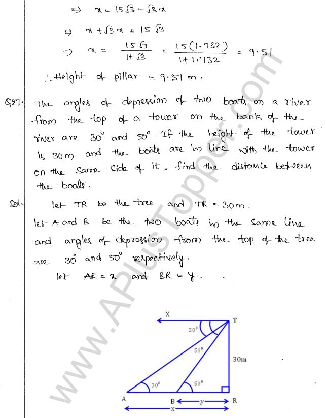 ML Aggarwal ICSE Solutions for Class 10 Maths Chapter 21 Heights and Distances Q1.28