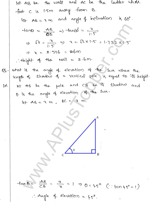 ML Aggarwal ICSE Solutions for Class 10 Maths Chapter 21 Heights and Distances Q1.3
