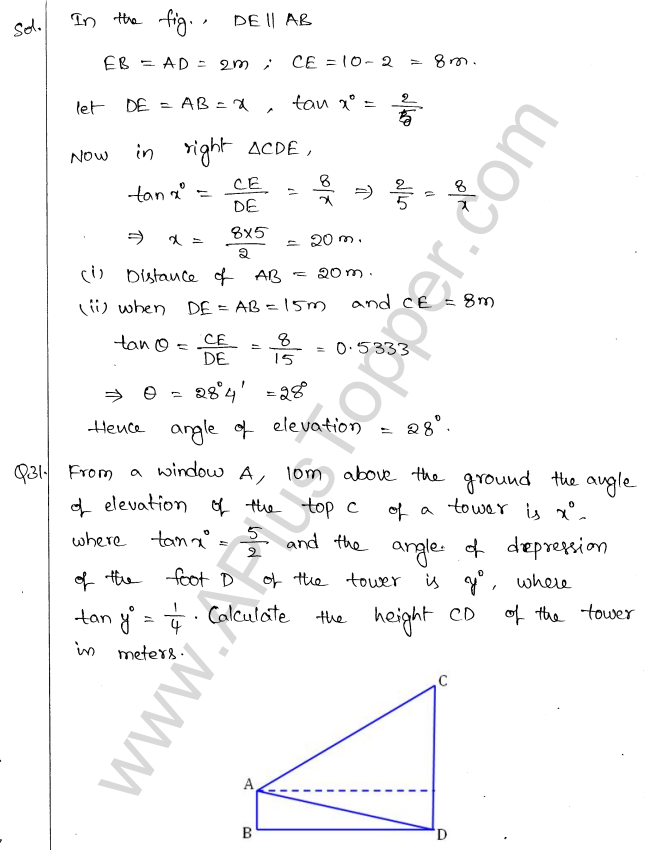 ML Aggarwal ICSE Solutions for Class 10 Maths Chapter 21 Heights and Distances Q1.33