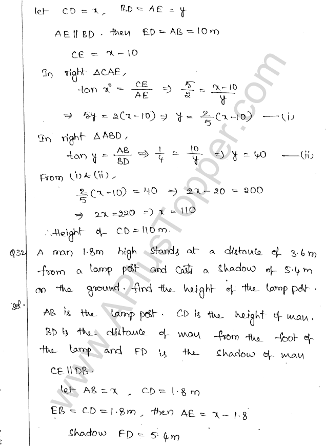ML Aggarwal ICSE Solutions for Class 10 Maths Chapter 21 Heights and Distances Q1.34