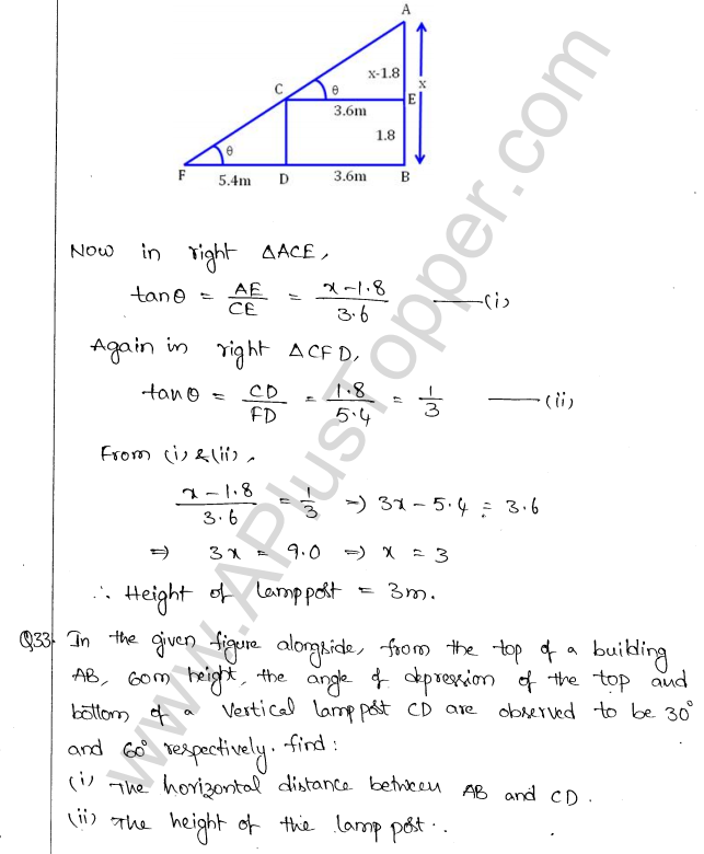 ML Aggarwal ICSE Solutions for Class 10 Maths Chapter 21 Heights and Distances Q1.35