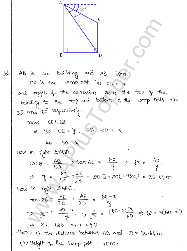 ML Aggarwal ICSE Solutions for Class 10 Maths Chapter 21 Heights and Distances Q1.36