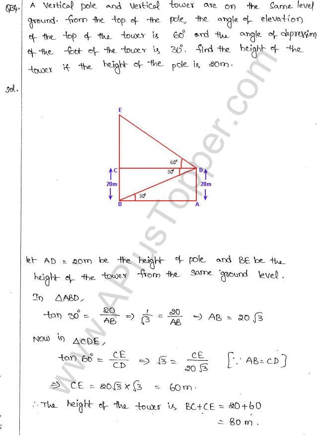 ML Aggarwal ICSE Solutions for Class 10 Maths Chapter 21 Heights and Distances Q1.37