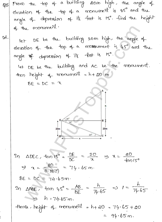 ML Aggarwal ICSE Solutions for Class 10 Maths Chapter 21 Heights and Distances Q1.38