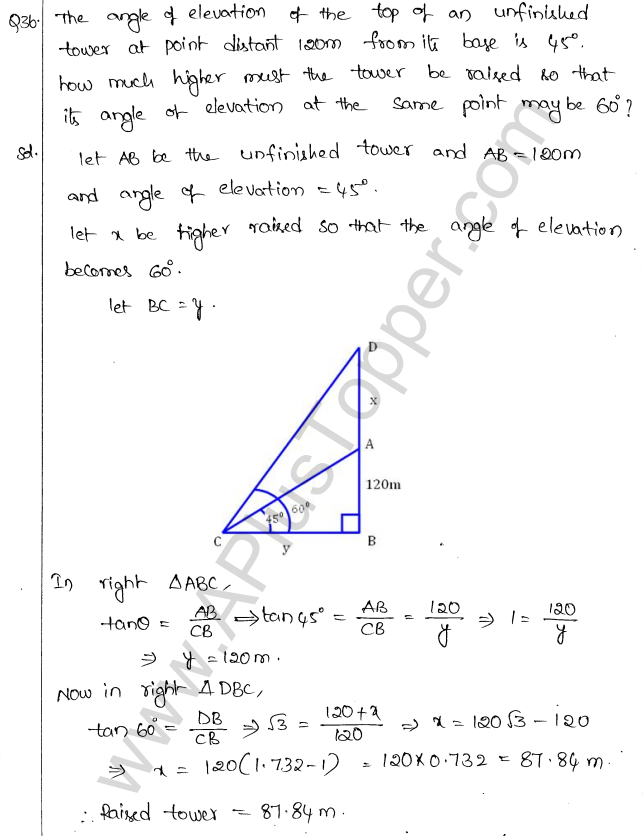ML Aggarwal ICSE Solutions for Class 10 Maths Chapter 21 Heights and Distances Q1.39