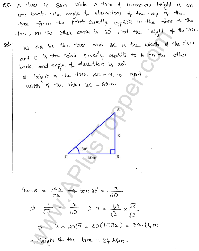 ML Aggarwal ICSE Solutions for Class 10 Maths Chapter 21 Heights and Distances Q1.4
