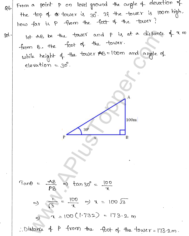 ML Aggarwal ICSE Solutions for Class 10 Maths Chapter 21 Heights and Distances Q1.5