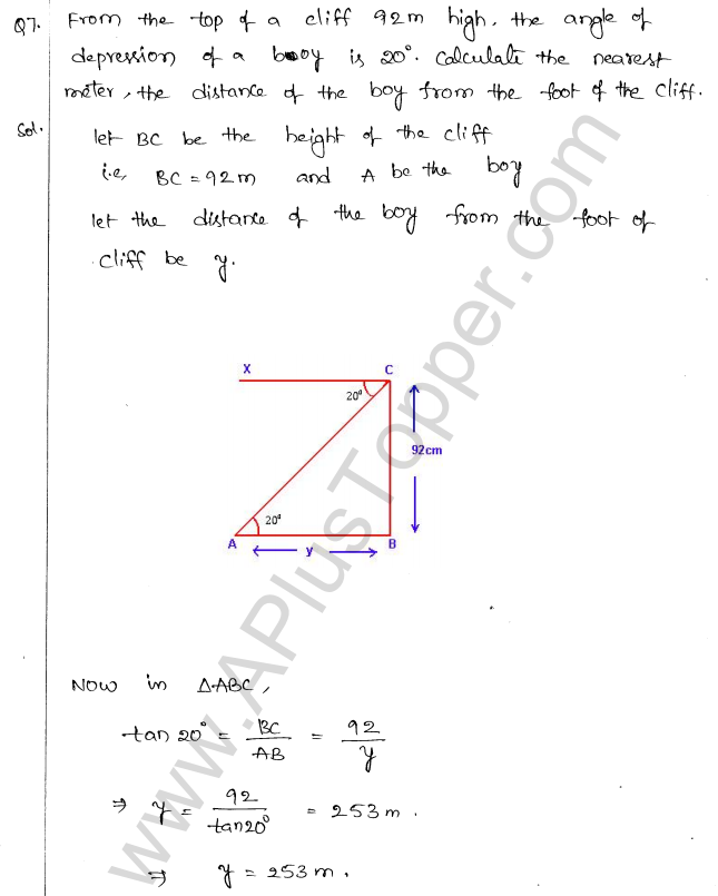ML Aggarwal ICSE Solutions for Class 10 Maths Chapter 21 Heights and Distances Q1.6