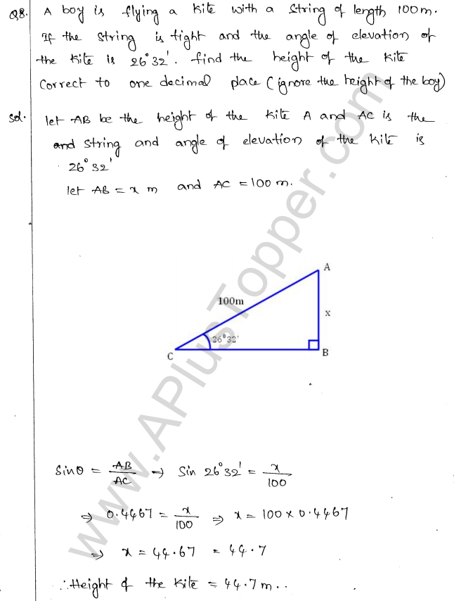 ML Aggarwal ICSE Solutions for Class 10 Maths Chapter 21 Heights and Distances Q1.7