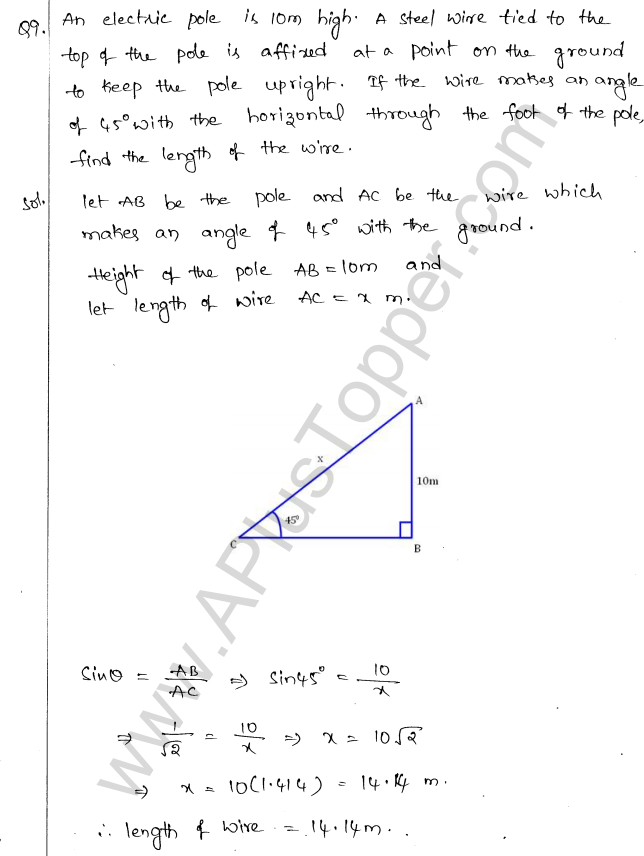 ML Aggarwal ICSE Solutions for Class 10 Maths Chapter 21 Heights and Distances Q1.8