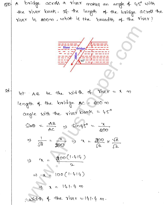 ML Aggarwal ICSE Solutions for Class 10 Maths Chapter 21 Heights and Distances Q1.9