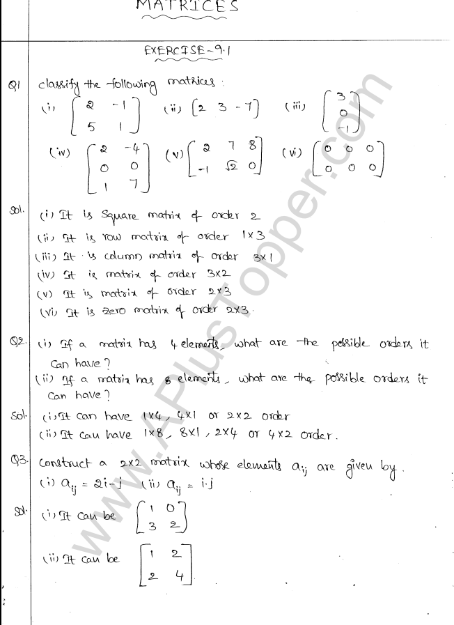ML Aggarwal ICSE Solutions for Class 10 Maths Chapter 9 Matrices Q1.1