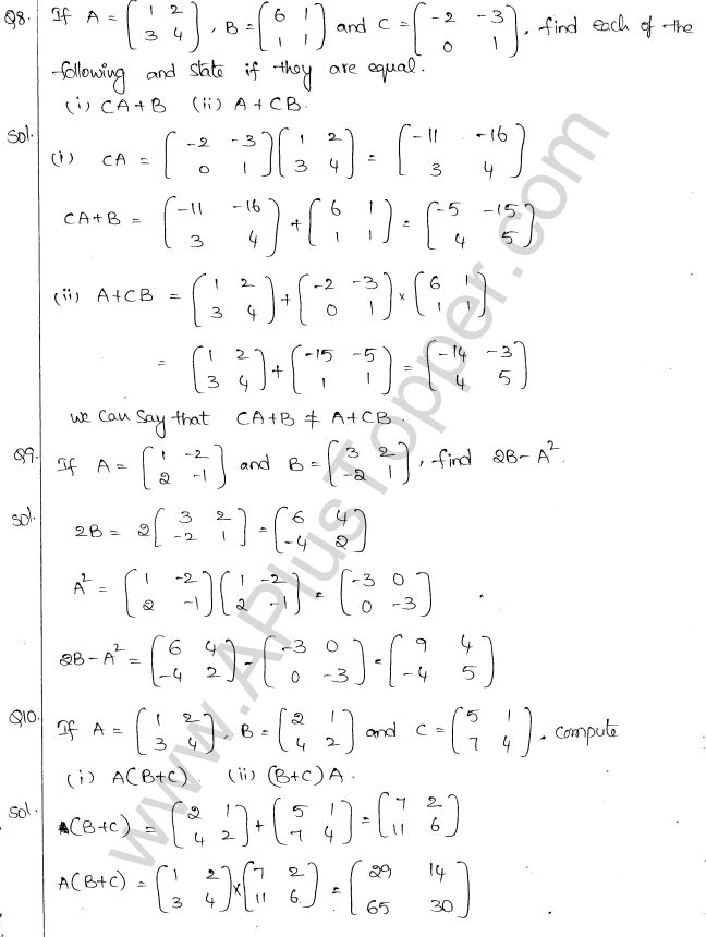 ML Aggarwal ICSE Solutions for Class 10 Maths Chapter 9 Matrices Q1.10