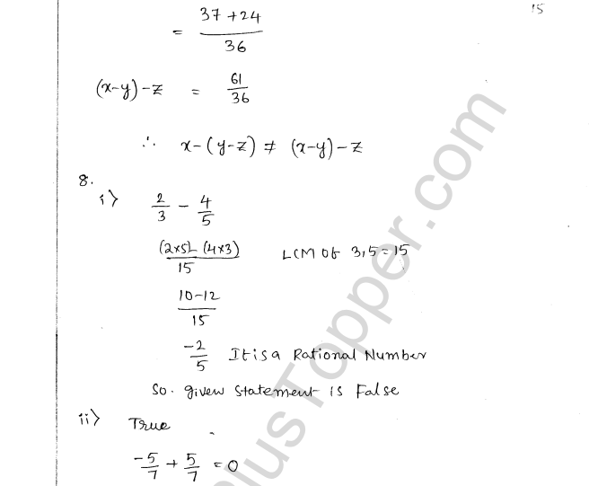 ML Aggarwal ICSE Solutions for Class 8 Maths Chapter 1 Rational Numbers 15