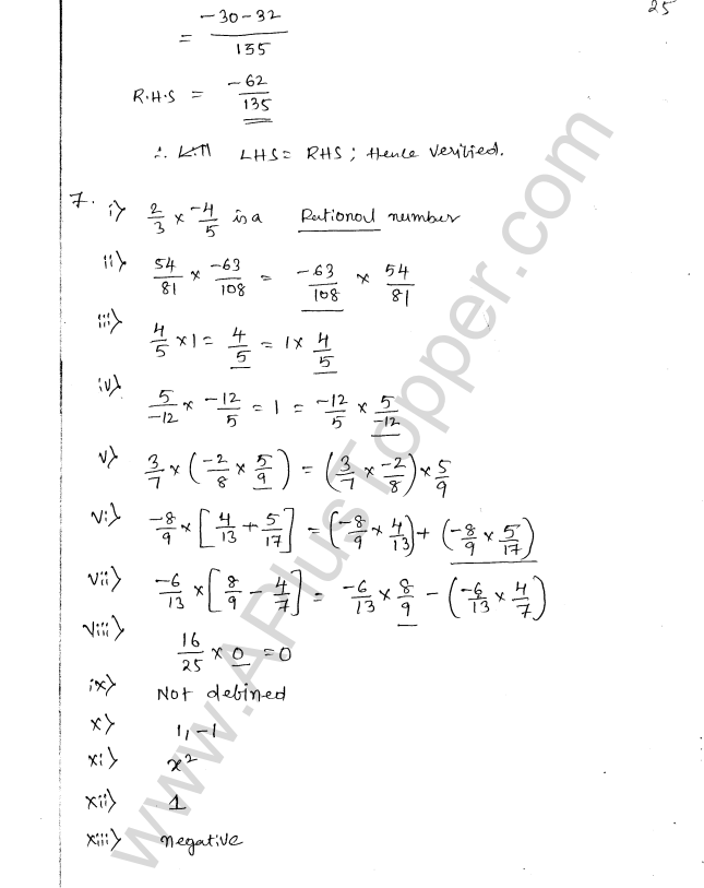 ML Aggarwal ICSE Solutions for Class 8 Maths Chapter 1 Rational Numbers 25