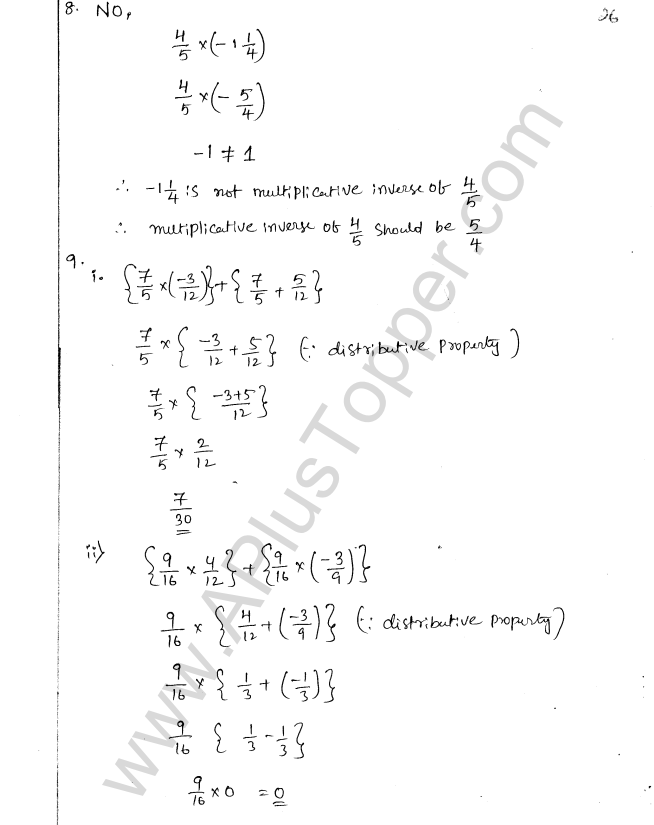 ML Aggarwal ICSE Solutions for Class 8 Maths Chapter 1 Rational Numbers 26