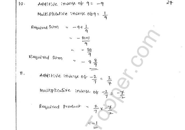 ML Aggarwal ICSE Solutions for Class 8 Maths Chapter 1 Rational Numbers 27