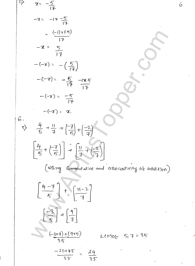 ML Aggarwal ICSE Solutions for Class 8 Maths Chapter 1 Rational Numbers 6