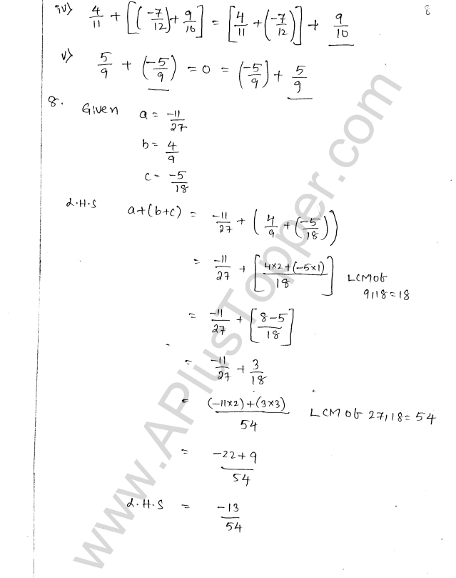 ML Aggarwal ICSE Solutions for Class 8 Maths Chapter 1 Rational Numbers 8