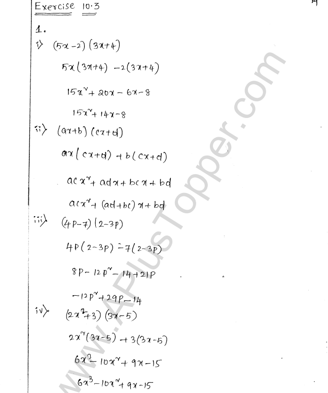 ML Aggarwal ICSE Solutions for Class 8 Maths Chapter 10 Algebraic Expressions and Identities 14