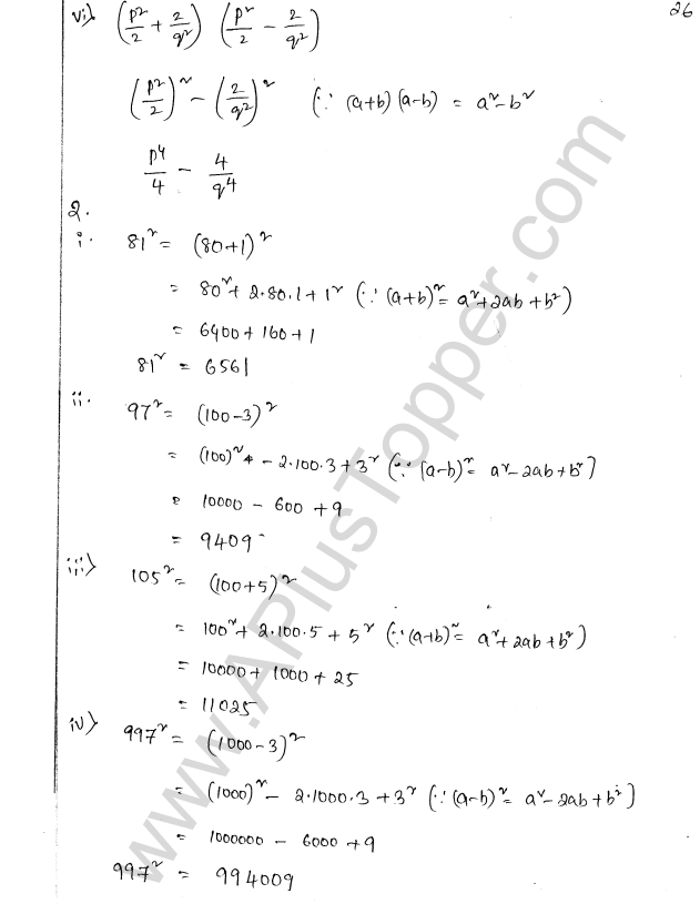 ML Aggarwal ICSE Solutions for Class 8 Maths Chapter 10 Algebraic Expressions and Identities 26