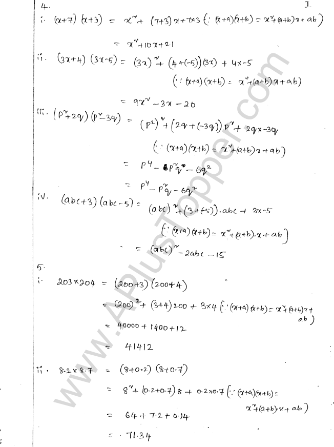 ML Aggarwal ICSE Solutions for Class 8 Maths Chapter 10 Algebraic Expressions and Identities 29