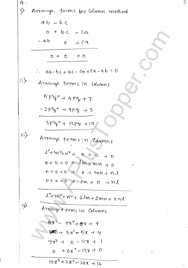 ML Aggarwal ICSE Solutions for Class 8 Maths Chapter 10 Algebraic Expressions and Identities 3
